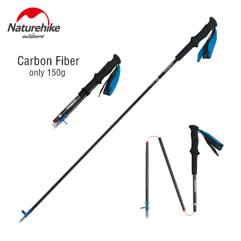 Naturehike Lightweight Collapsible Carbon Fiber Trekking Poles Adjustable Folding Nordic Walking Poles for Hiking Mountains