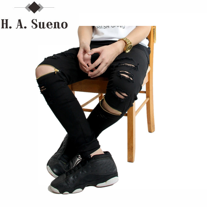 men biker denim jeans zipper ripped jeans for men skinny Distressed slim mens kanye west skinny jeans hip hop swag black jeans biker jeans mens brand black skinny ripped zipper full length pants hip hop cotton denim distressed pantalones vaqueros hombre