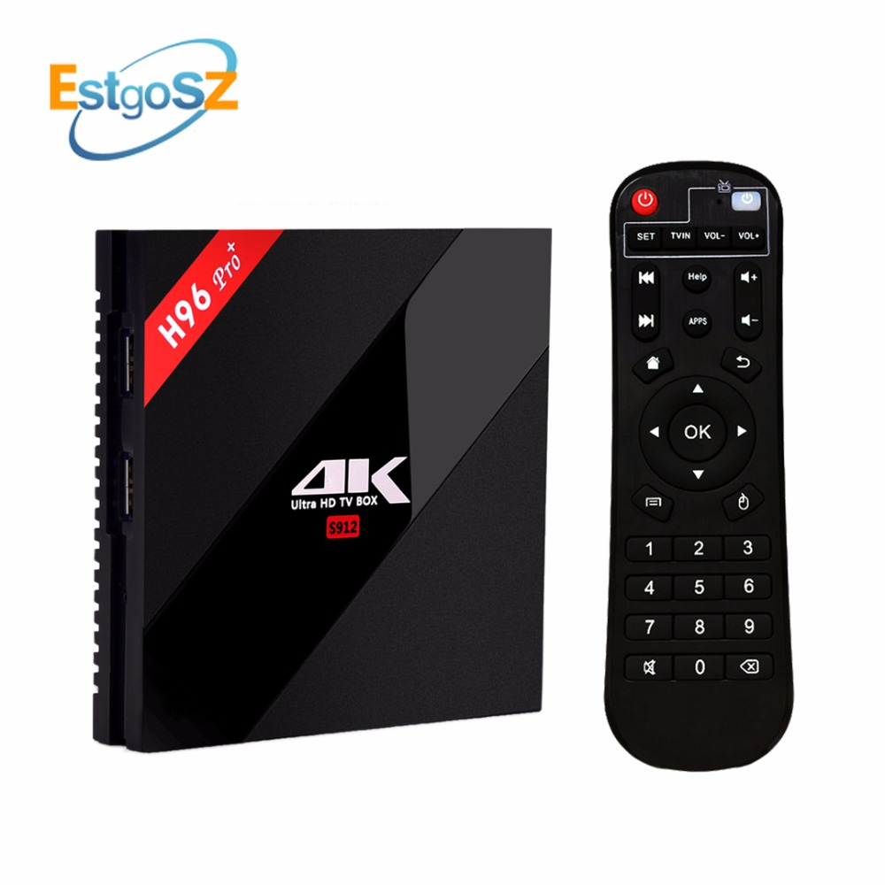 H96 Pro Plus + TV Box EStgoSZ Android 7.1 3G 32G Amlogic S912 Octa Core 64Bit 2.4G/5G Wifi 4K BT4.1 HD Media Player Set Top Box