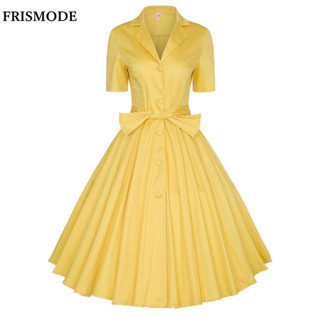 c7ec4e83e1 XS-4XL Cotton Vintage Swing Summer Dress 2018 New Yellow Midi Audrey  Hepburn Style Dress Women Plus Size Dresses Vestidos