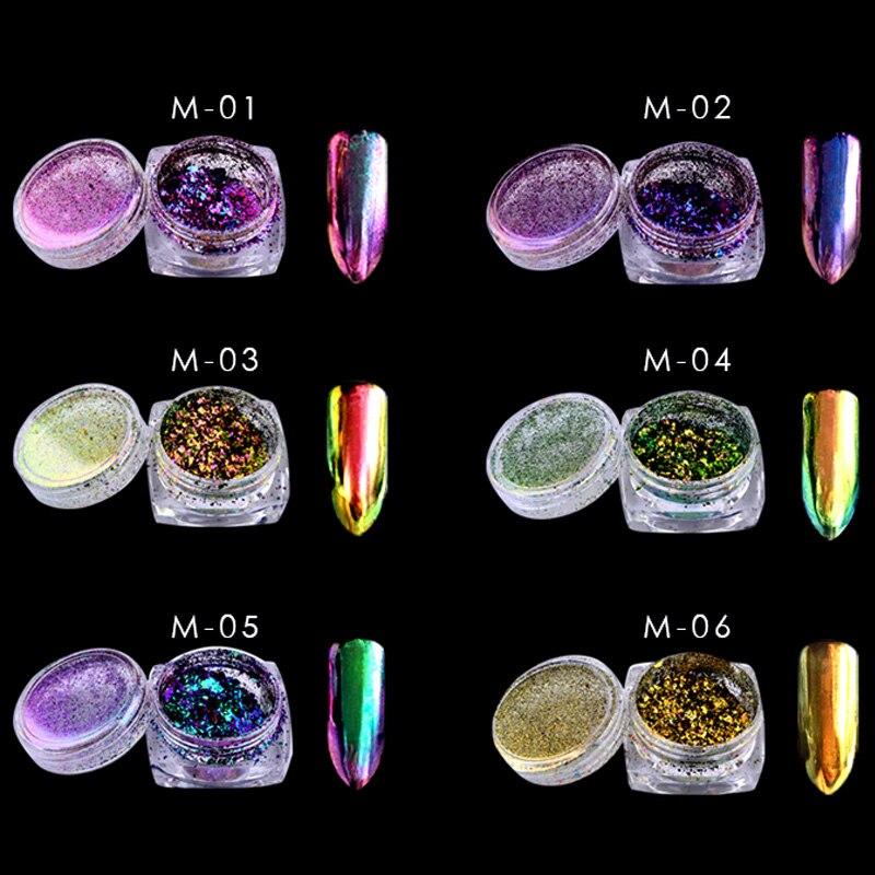 Nagelglitzer Schönheit & Gesundheit 1 Box 0,2g Chameleon Flakes Nagel Pulver Bling Nagel Flecken Pulver Staub Schimmer Nail Art Glitter Staub Galaxy Dekorationen