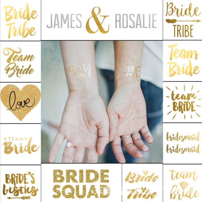 55x55mm Bridal Team Bridesmaid Metallic Golden Temporary Tattoo Sticker Hen Night Bachelorette Party Wedding Decoration Supplies