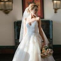Verngo Flower Appliques Tulle Wedding Dress Spaghetti Straps Bride Dress Princess Wedding Gowns Trouwjurk
