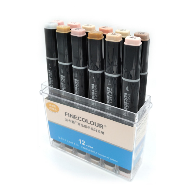 Finecolour Double-Ended Brush Markers 12 Manga Colors Skin Tones Sketch Graphic Design with Pen Case Or Bag
