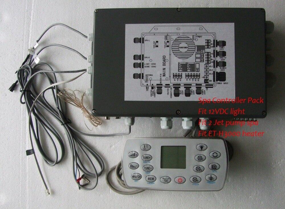 Jazzi SKT338B 338E 2P spa Controller JAZZI2 2P Fit ET H3000 heater +12VDC Light