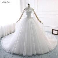 VNXIFM 2019 Luxury Lace Embroidery Wedding Dresses Long Train Sweetheart Elegant Plus size Vestido De Noiva Bride