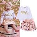 2 UNIDS Ropa Determinada del Algodón Muchachas Del Niño Del Bebé Lindo de Manga Larga T-shirt Tops + Lovely Pink Dot Shorts Trajes de Falda conjunto