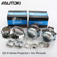 Free Shipping Autoki Automobiles Koito Q5 Projector Lens for Headlight 3.0inch HID Bi xenon Lamp +Iris Shrouds, Use D1S D2S D3S