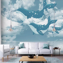 Creative Ocean Sky Whale Childrens Room Wall Professional Production Wallpaper Mural Custom Photo