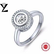 Настоящее Серебро 925 Обручальное Кольцо Белый Позолоченный Любовь Кольцо для Женщин Танцы CZ Алмаз Моды Кольца Стерлингов-Серебро-ювелирные изделия(China (Mainland))