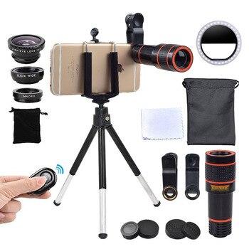 Girlwoman Camera Kit 12X Zoom Lens for Smartphone Selfie Led Light Ring Flash Lente Phone Telescope Fisheye Macro Lens Tripod