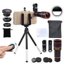 Girlwoman камера Комплект 12X зум объектив для смартфонов светодиодный светильник селфи кольцо Flash Lente телефон телескоп рыбий глаз макрообъектив штатив