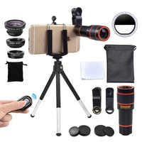 Girlwoman Kit de cámara 12X Zoom Lente para Smartphone Selfie Led anillo de luz Flash Lente teléfono telescopio Objetivo macro y ojo de pez trípode