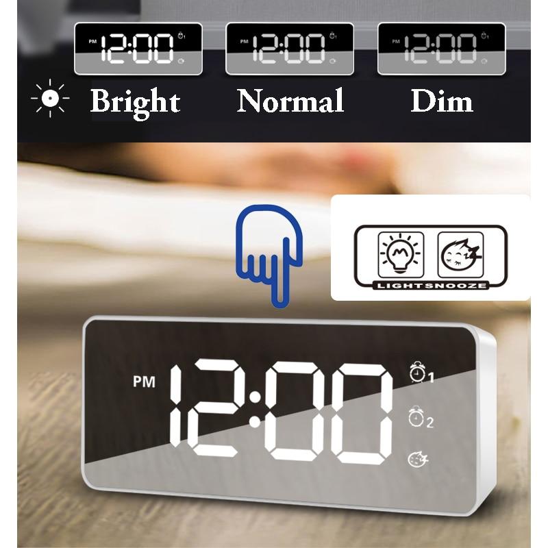 Newest Mirror Desk Clock, 25 Songs Musical Alarm Clock, Volume Adjustment, Modern Design Digital Led, Sound Activated, USB