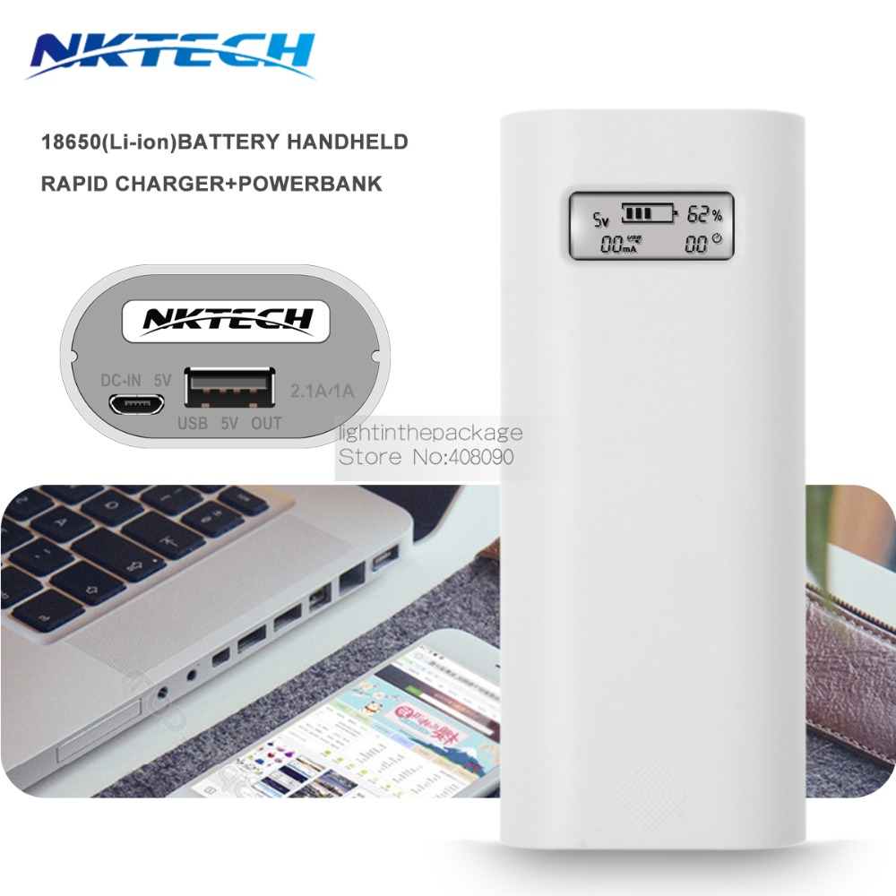 NKTECH E4S 18650 Chargeur USB Banque De Puissance 2 pcs Soshine TrustFire 18650 Batterie Boîtier De Recharge couleur blanche + usb câble de charge