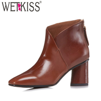 WETKISS Winter Woman Ankle Boots Square Toe High Neck Footwear 2018 New Fashion Cow Leather Boots Autumn High Heels Female Shoes