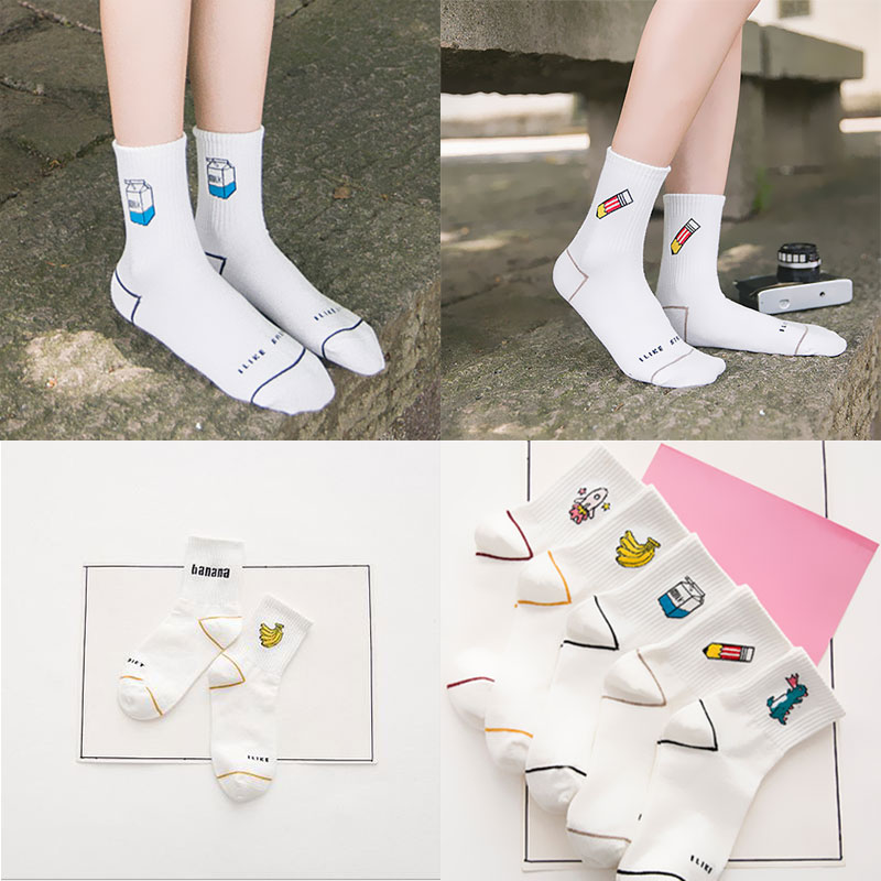 1 Pair Men Women Cartoon Character Short   Socks   Japanese Tube White   Socks   Harajuku Patterend Ankle   Socks   Chaussettes Femmes