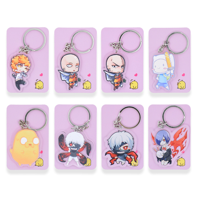 Tokyo Ghoul Cute One Punch Man Double Sided Key Chain