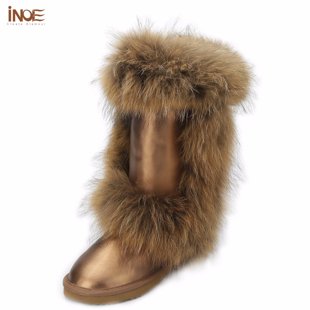 INOE fashion real fox fur high quality winter snow boots for women winter shoes cow split leather boots black brown waterproof