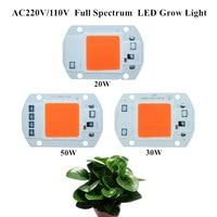 10pcs Full Spectrum 380nm 840nm Dimmable AC220V 110V 20W 30W 50W LED Grow Light Hydroponic Grow