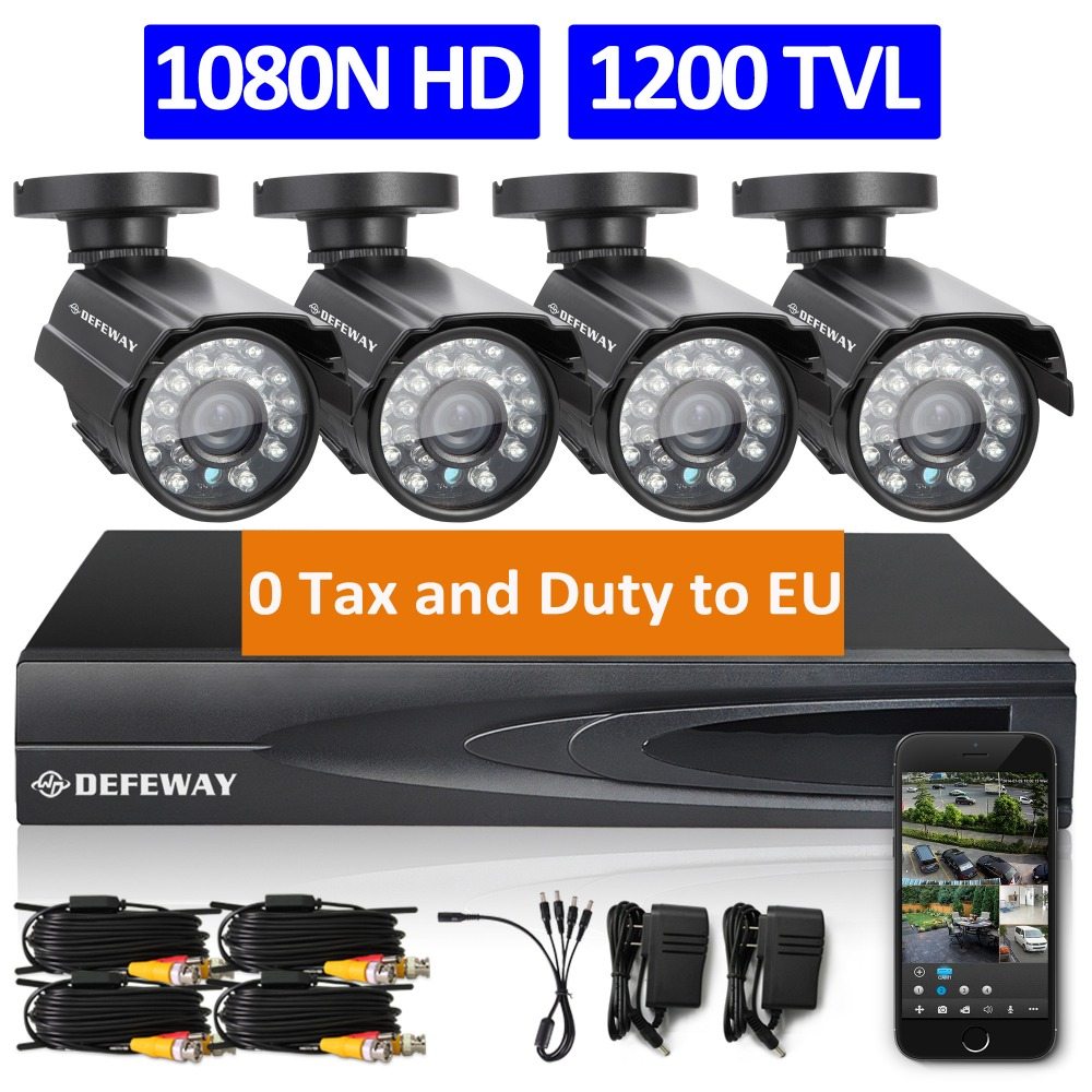 Defeway 1080n hdmi dvr 1200tvl 720p hd outdoor home security camera system...