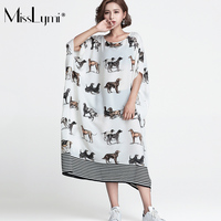 MissLymi XXXL 6XL Plus Size Women Clothes Long White Dresses 2017 Summer Cartoon Dog Animal Print