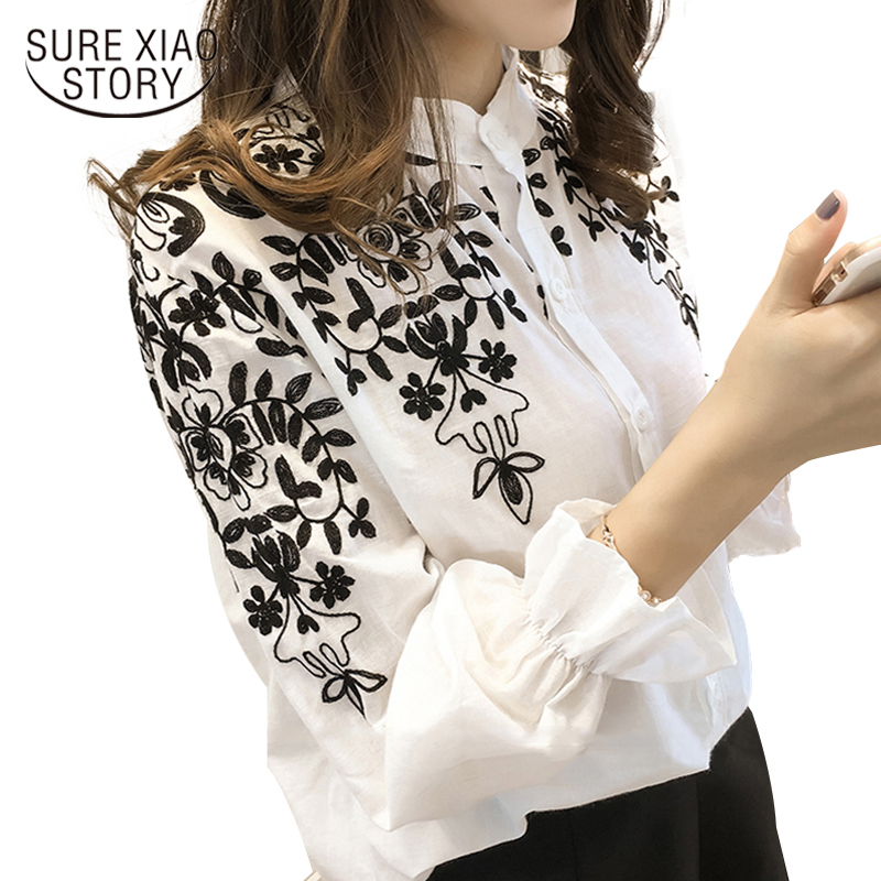 2017 Fashion Cotton Korean Flower Embroidered Tops Female ...