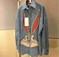 High quality Embroidery cartoon Rabbit Denim Shirt New 2018 spring summer women diamonds Long Sleeve blouses S338