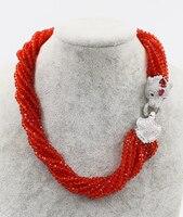 10 reihen rot stein 3-4mm halskette natur perlen großhandel 19 verschluss FPPJ