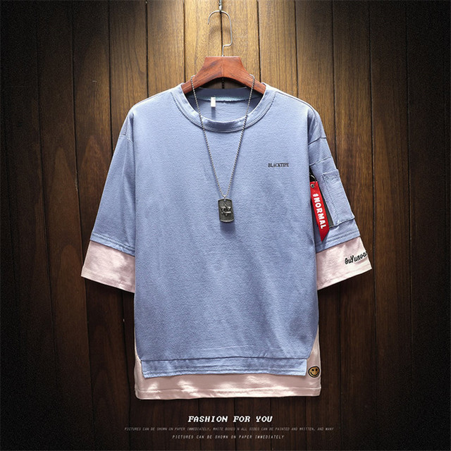 2018 Summer Korean Version Of The New Men's Belt Pendant Casual Round Neck Large Size Left Sleeve Zipper T-shirt Men's Clothing 2