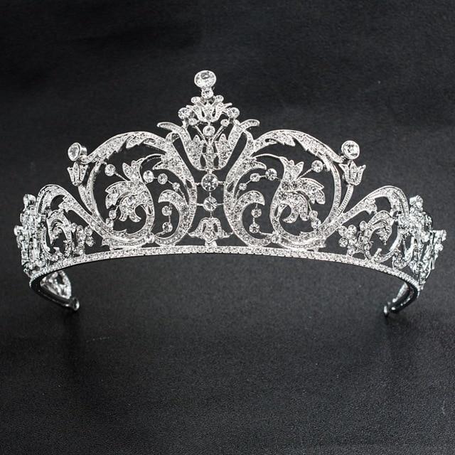 Classic Rhinestone Crystal 2/3 Round Wedding Bridal Tiara Crown Diadem Women Hair Accessories Jewelry XBY158L