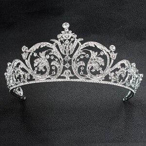 Image 1 - Klasik taklidi kristal 2/3 yuvarlak düğün gelin tacı taç Diadem kadınlar saç aksesuarları takı XBY158L
