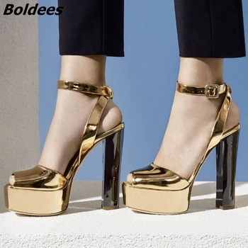 New Arrival Chunky Block Heeled Patent Leather High Heel Sandals Women Platform Sandal Shoes Buckle Style