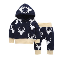 2pcs Fall Baby Boy Girl Clothing Long Sleeve Hooded Pants Baby Cotton Casual Two Piece Set