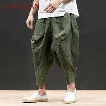 KUANGNAN Japan Style Linen Wide Leg Pants Men Jogger Japanese Streetwear Joggers Men Pants Hip Hop Trousers Men Pants
