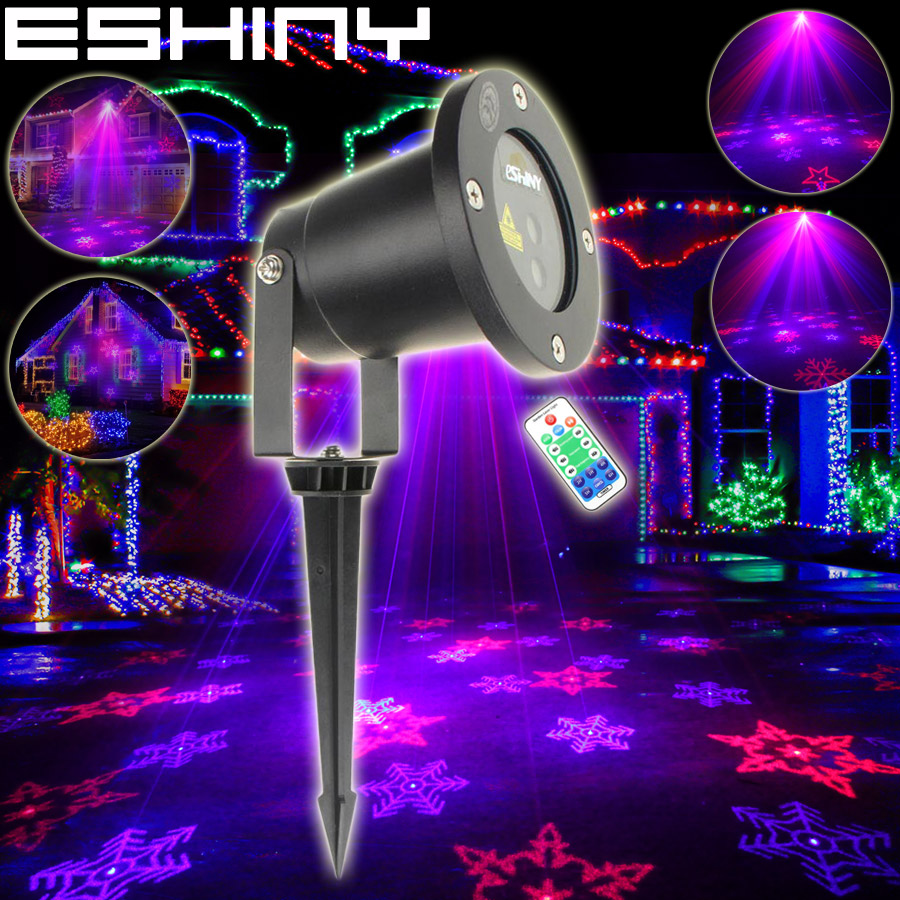 ESHINY Outdoor Remote R&B Laser 12 Snowflake Patterns Projector Holiday House Dance Xmas Tree Wall Landscape Garden Light T226D4