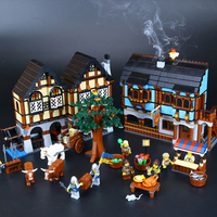 Lepin 16011 Medieval Market Village Building Bricks Blocks Toys For Children Boys Game Model Car Gift