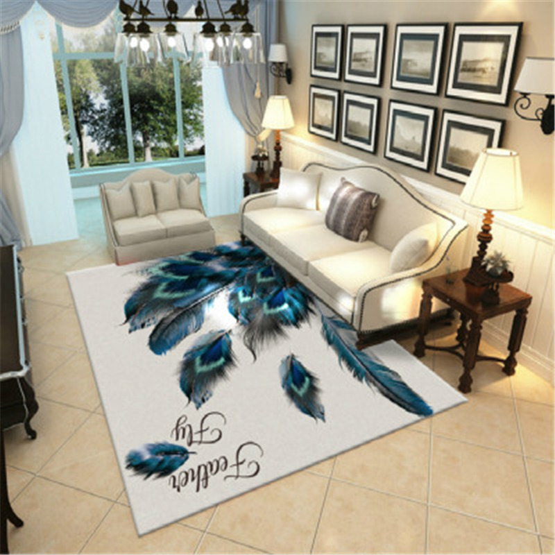 Feather Peacock Rug Carpet for Living Room Modern Alfombra Sofa Bedroom Study Parlor Space Rug Nordic Tapete Luxo Floor Rug Big|Carpet| |  - title=