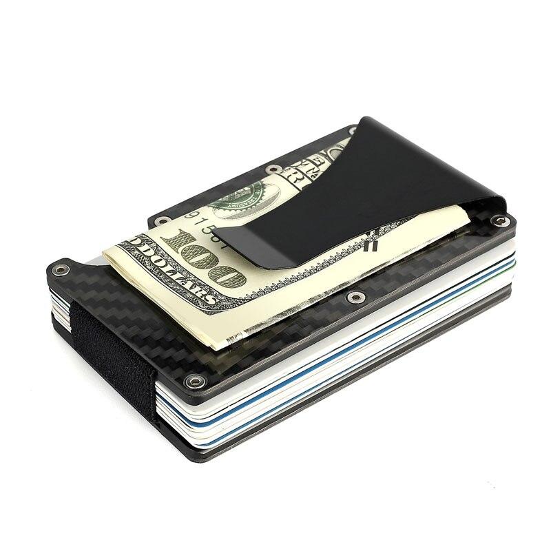 Carbon Fiber Credit Card Holder Metal Cardholder Business Car ID Card Case Money Clamp Travel Porte Carte RFID Mini Wallet