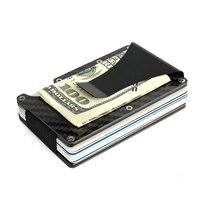 Carbon Fiber Metal Mini Money Clamp RFID Credit Business Card Case Car ID Holder Wallet I Clip Travel Porte Carte Cardholder HOT