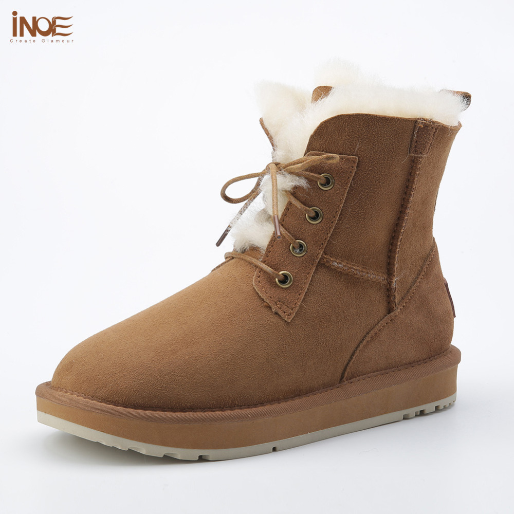 new style fashion genuine sheepskin leather fur lined women ankle winter snow boots for ladies lace up casual winter shoes inoe 2018 new genuine sheepskin leather sheep fur lined short ankle suede women winter snow boots for woman lace up winter shoes