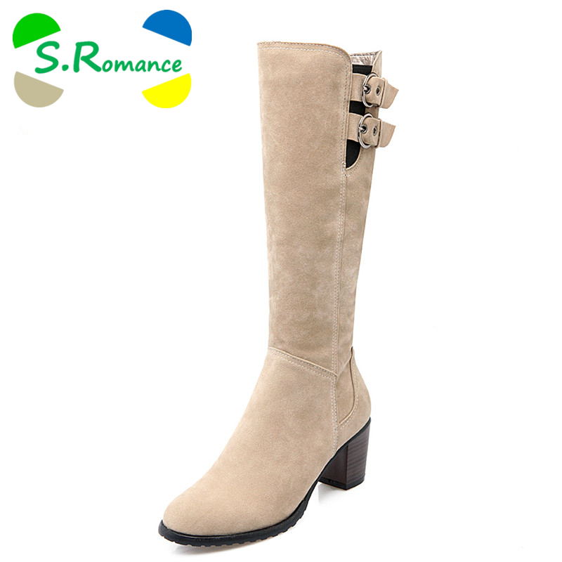 S.Romance Women Boots Plus Size 34 43 Med Square Heel Round Toe Knee High Zip Woman Shoes Winter Boot Black Brown Beige SB600-in Knee-High Boots from Shoes    1