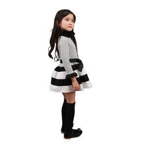 Image 3 - TANGUOANT תינוק בנות שמלת נסיכה חמודה שמלות מסיבת פס פעוט ארוך שרוול ילד תלבושות תינוק בנות בגדים
