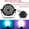 4xlot DJ осветительное оборудование 18х10вт RGBW 4в1 LED бесшумные Par светильники с 8 DMX каналом для вечеринки свадьбы диско ночных клубов