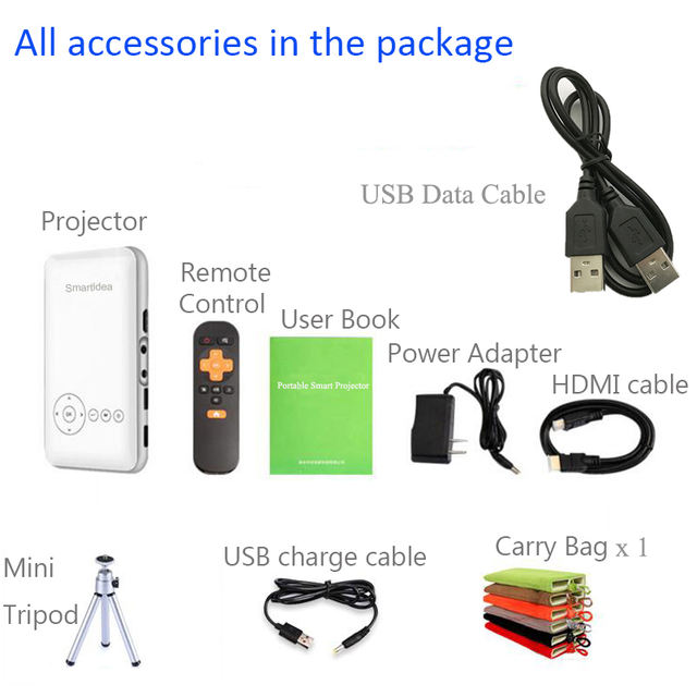 Handheld Mini LED Projector 1080P Android 7.1.2 5000mAh Battery