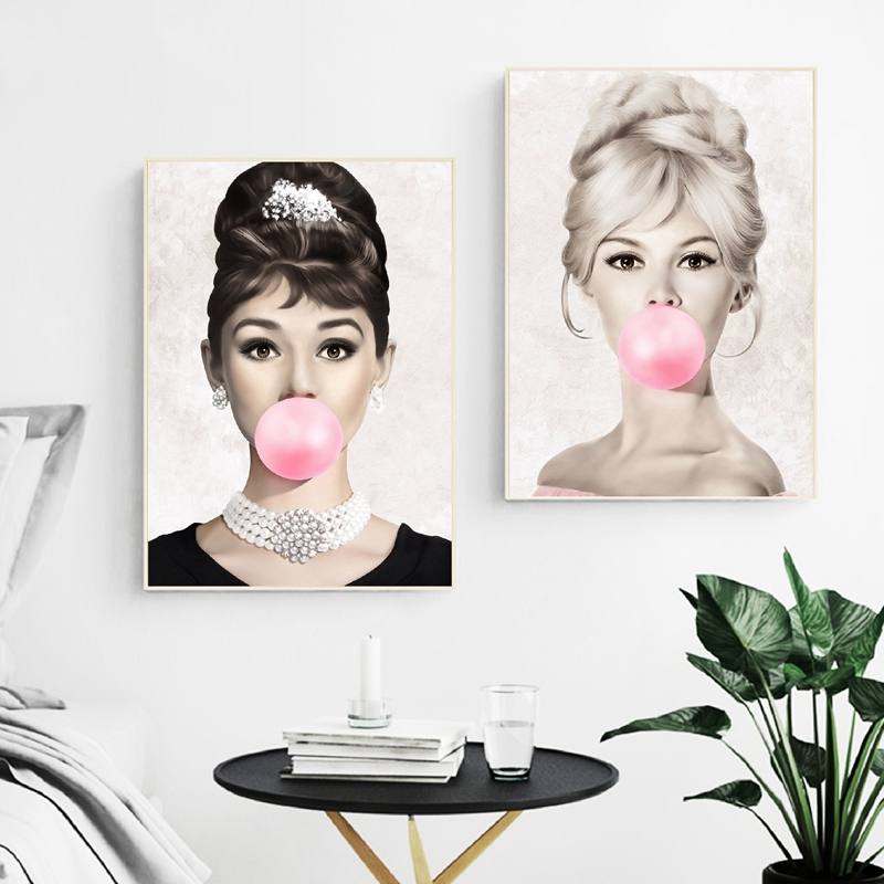 Audrey Hepburn Bubble Gum Wall Art Canvas Fashion Posters Brigitte Bardot Marilyn Monroe Prints Painting Pictures Audrey Hepburn Bubble Gum Wall Art Canvas Fashion Posters Brigitte Bardot & Marilyn Monroe Prints Painting Pictures Home Decor