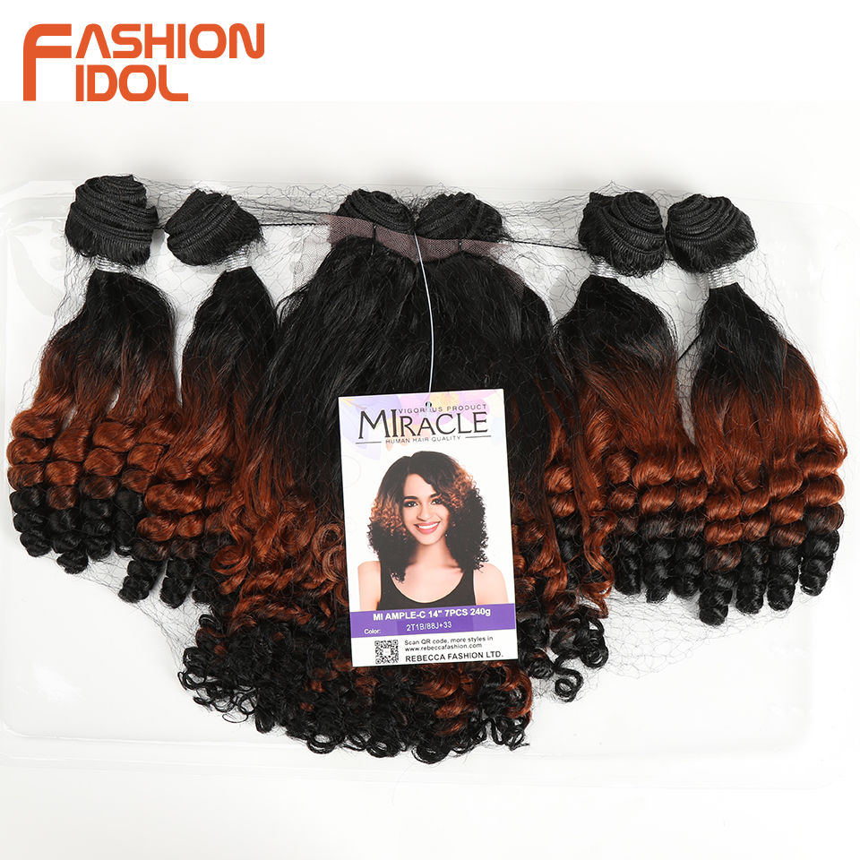 Image 5 - FASHION IDOL Afro Kinky Curly Hair Bundles 14inch 7Pieces/lot Upper Straight Lower Bend Synthetic Hair Lace Front With Closure-in Synthetic Weave from Hair Extensions & Wigs