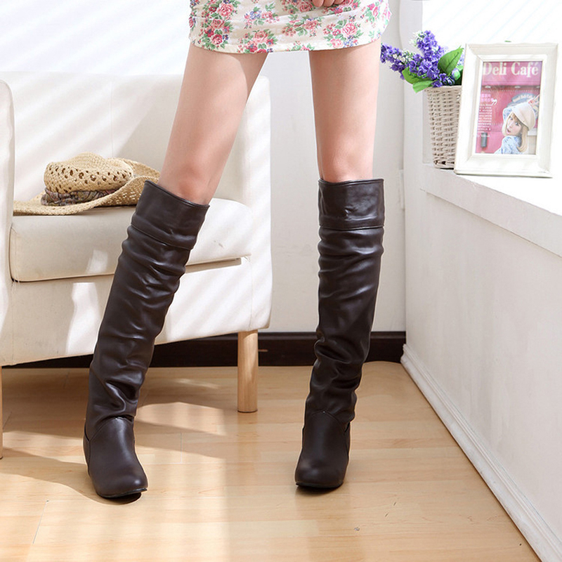 Roms Cuir longueur Femme Stretch Noir 2018 black Chaussures Femmes Pu En Whtie Botas Mode Printemps Blanc Genou brown Bottes zpqUSMVG
