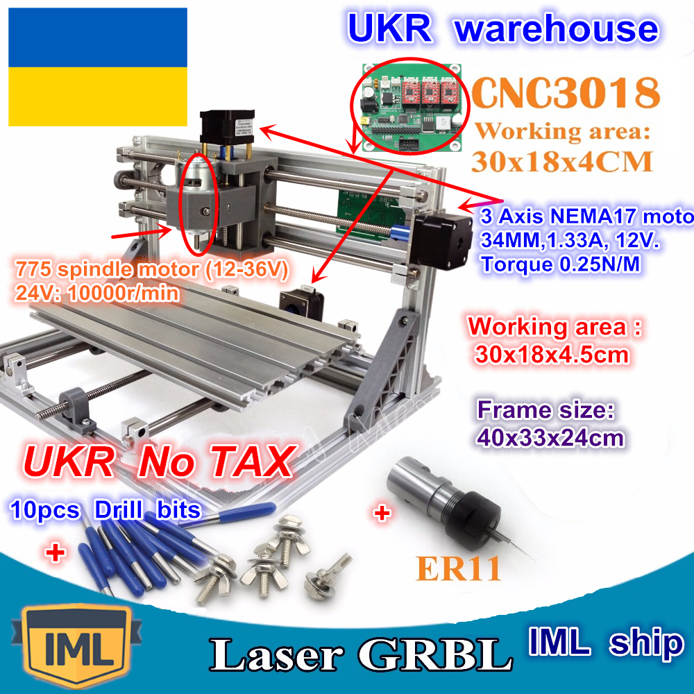 UKR CNC 3018 GRBL control DIY mini CNC machine working area 300x180x45mm 3 Axis Pcb Milling machine,Wood Router,cnc router v2.4 model working area 600 900mm rd 6090 mini cnc router for metal european standard