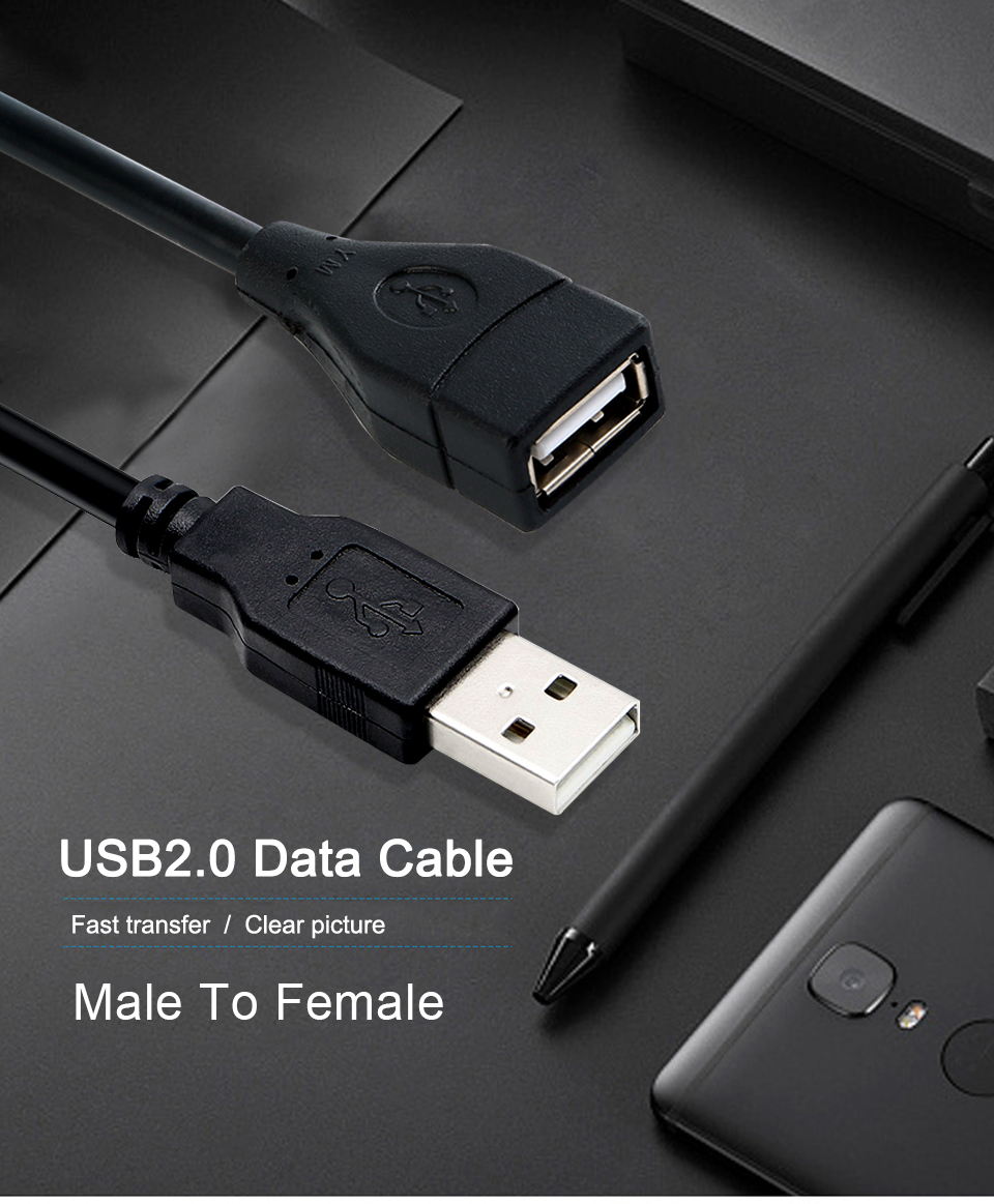 USB 2.0 Male to Female USB Cable 1.5m 3m 5m Extender Cord Wire Super Speed Data Sync Extension Cable For PC Laptop Keyboard (1)